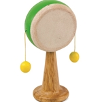"Green Tones 5"" Spinning Drum w/Wood Handle"